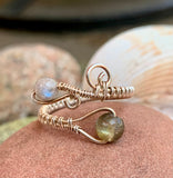 Sparkling Labradorite and Sterling Silver Ring - adjustable