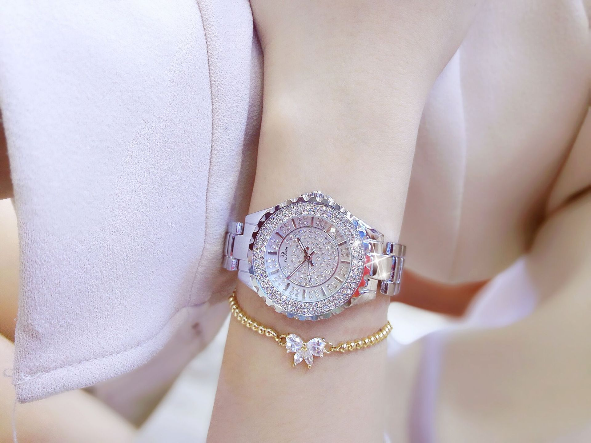 Bs Genuine Full Diamond Fashion Women S Watch Diamond Table Luxury