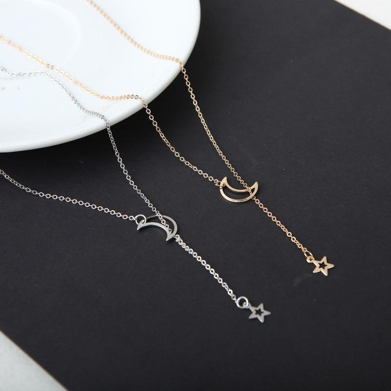 Mossovy Simple Female Moon Star Necklaces