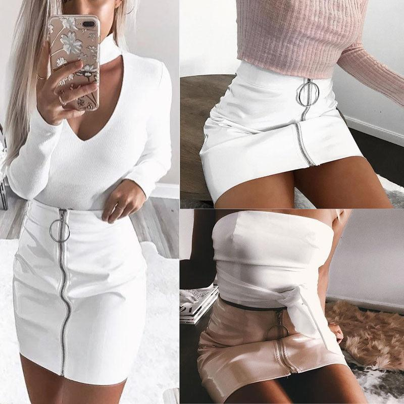 3fcb074f60dbe Sexy Women Fashion High Waist Zip Faux Leather Short Pencil Bodycon Mini  Skirt 2019 New Solid White Skirt