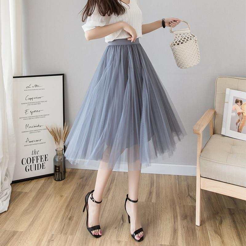 bc48ed076c Tulle Skirts Womens Midi Pleated Skirt Black Pink Tulle Skirt Women 2019  Spring Summer Korean Elastic