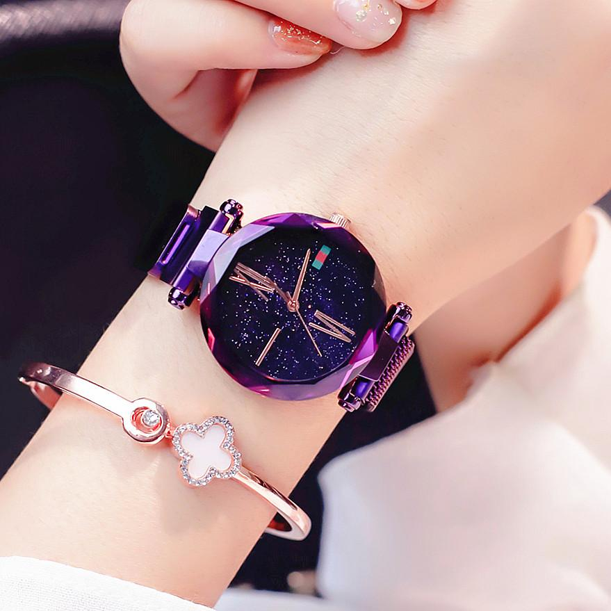 cb467036f 2018 New Magnet Stone Watch Women Fashion Waterproof Quartz Watch Starry  Sky Pattern Watch - Mossovy
