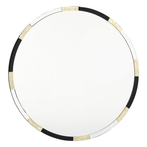 Gadany Round Gold Leaf & Black Glass Mirror