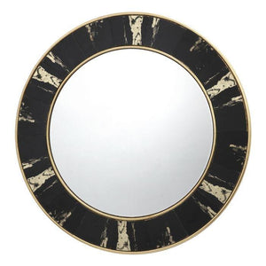 Sidone Round Mirror With Black/Gold Foil Detail