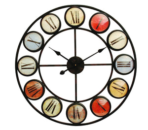 Smarty Iron Clock Roman Numerals with Coloured Domed Glass