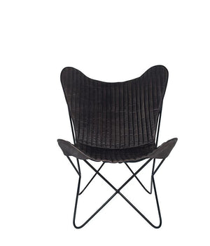 Steel Grey Leather & Iron Butterfly Chair