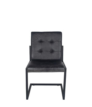 Steel Grey Leather & Iron Chair