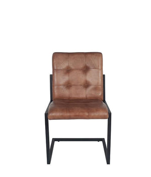 Vintage Brown Leather & Iron Chair