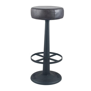 Steel Grey Leather & Iron Round Bar Stool