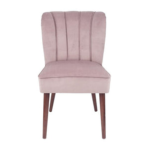 Blush Pink Velvet Dining Chair Walnut Effect Legs