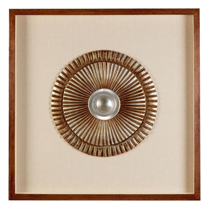 Framed Round Two Tone Carving - Beige & Bronze