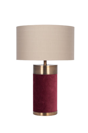Red Velvet and Antique Gold Metal Table Lamp