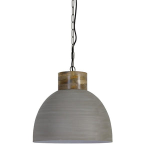 Samana Concrete Pendant with Wooden Top