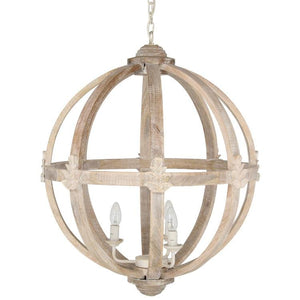Javier Large Round Wooden Pendant