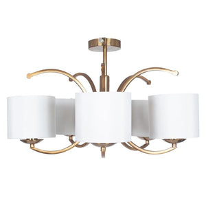 Satin Brass 5 Curved Arm Semi Flush Pendant