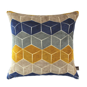 Lennox Navy Ochre Cushion 43x43cm