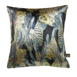 Preen Velvet Blue Green Cushion 58x58cm