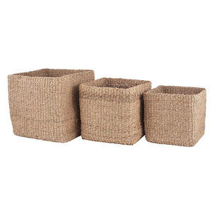 Woven Natural Seagrass Cube Baskets Set of 3