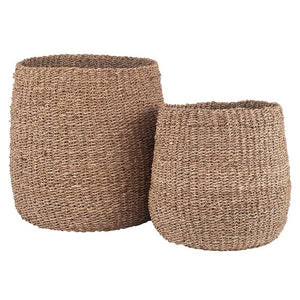 Woven Natural Seagrass Tapered Baskets Set of 2
