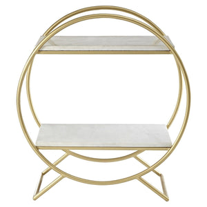 Nirav Round Marble 2 Tier Shelf