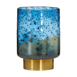 Aqua Small Bubble Effect Vase Blue/Gold