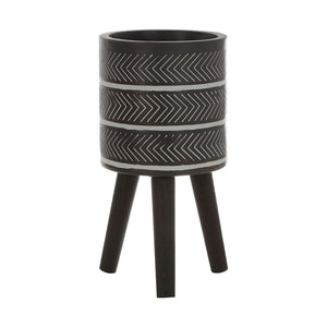 Leon Black Chevron Planter