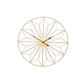 Antique Gold Metal Geo Design Round Wall Clock