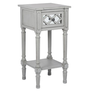 Dove Grey Mirrored Pine Wood Accent Table