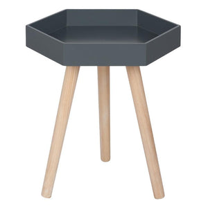 Dark Grey Pine Wood & MDF Hexagon Table Small