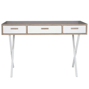 Natural & White Wood 3 Drawer Desk