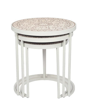 Antique White & Cream Wood & Iron S/3 Side Tables