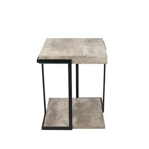 Concrete Effect MDF & Black Iron Side Table