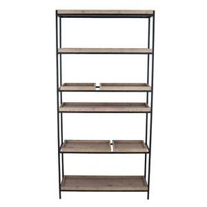 Natural Wood Veneer & Black Metal 5 Shelf Unit