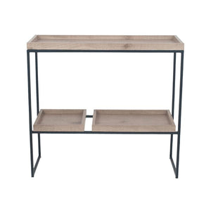 Natural Wood Veneer & Black Metal 2 Shelf Unit
