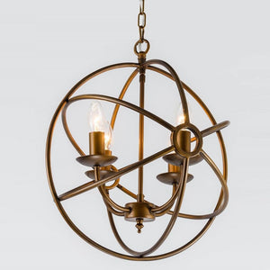 Orion 4 Light Antique Bronze Spherical Chandelier