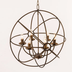 Orion 6 Light Antique Bronze Spherical Chandelier