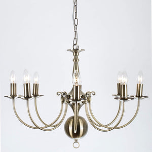 Bruges 8 Light Antique Brass Flemish Chandelier