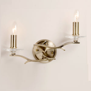 Elm 2 Light Antique Brass Wall Light