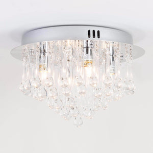 Nissa 4 Light Chrome Flush Ceiling Light with Clear Glass Drops