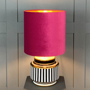 Humbug Black & White Stripe Small Ceramic Table Lamp with Fuchsia Pink Velvet Shade
