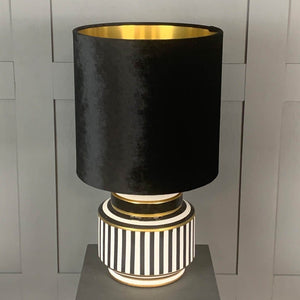 Humbug Black & White Stripe Small Ceramic Table Lamp with Black Velvet Shade