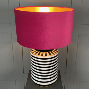 Humbug Black & White Stripe Tall Ceramic Table Lamp with Fuchsia Pink Velvet Shade