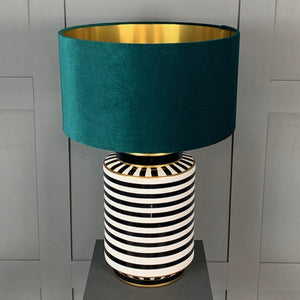 Humbug Black & White Stripe Tall Ceramic Table Lamp with Jade Green Velvet Shade