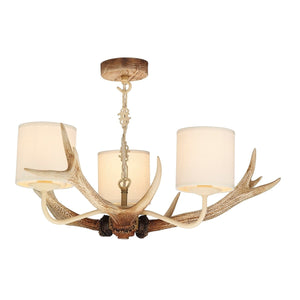 David Hunt Antler Bleached 3 Light Chandelier with Shades