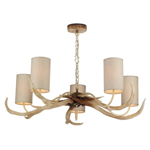 David Hunt Antler 5 Light Bleached Pendant complete with Shades