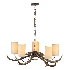 David Hunt Antler 5 Light Rustic Pendant complete with Shades