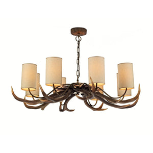 David Hunt Antler 8 Light Rustic Pendant complete with Shades