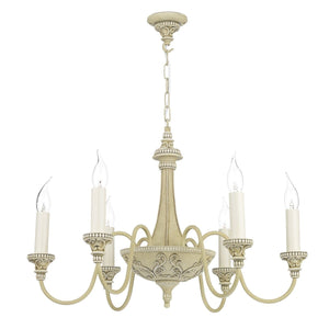 David Hunt Bailey 6 Light Chandelier Cream