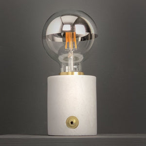 Marble and Brushed Gold Bulb Holder with Chrome Globe Bulb 95mm