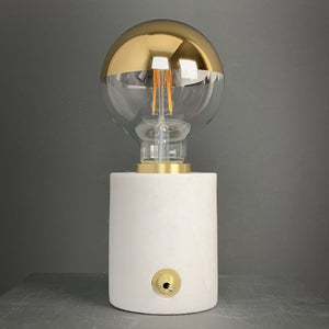 Marble and Brushed Gold Bulb Holder with Gold Globe Bulb 95mm